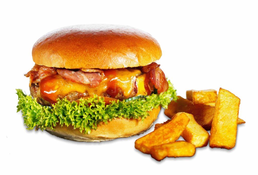 BBQ Baconburger mit Pommes